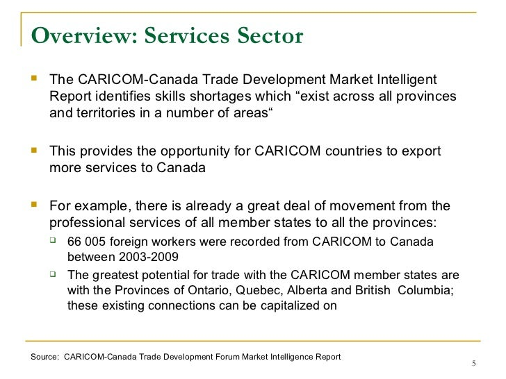 the potential in the trade between canada and italy The value of canada's services exports to italy decreased by 99% between 2009 and 2010, while the value of canada's services imports from the country grew by 51% in 2010, canada had trade deficits with italy in all services categories.