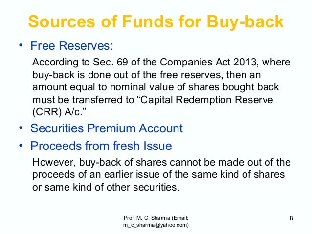 buy back of shares Buy back of shares can be understood as the process by which a company buys its share back from its shareholder or a resort a shareholder can take in order to sell the share back to the company 12 objectives behind buy back of shares and the restrictions placed on it.