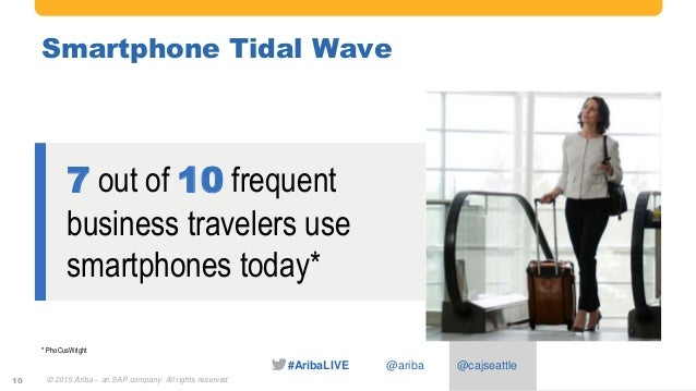 #AribaLIVE @ariba Smartphone Tidal Wave © 2015 Ariba – an SAP company. All rights reserved.10 7 out of 10 frequent busines...