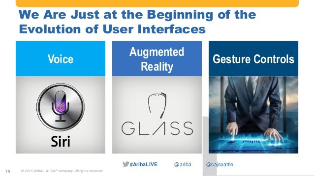 #AribaLIVE @ariba We Are Just at the Beginning of the Evolution of User Interfaces 15 Voice Augmented Reality Gesture Cont...