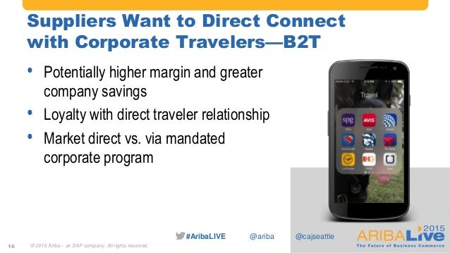 #AribaLIVE @ariba Suppliers Want to Direct Connect with Corporate Travelers—B2T • Potentially higher margin and greater co...