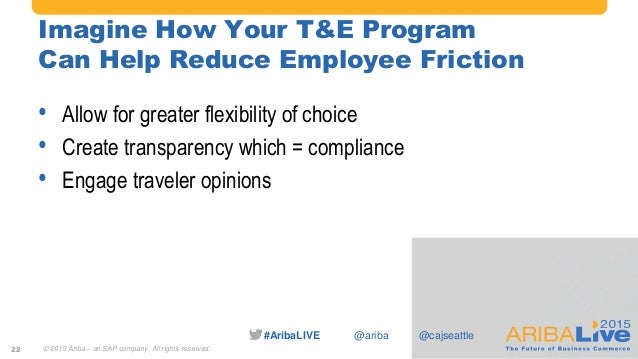 #AribaLIVE @ariba Imagine How Your T&E Program Can Help Reduce Employee Friction • Allow for greater flexibility of choice...