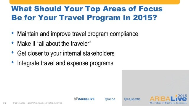 #AribaLIVE @ariba What Should Your Top Areas of Focus Be for Your Travel Program in 2015? • Maintain and improve travel pr...