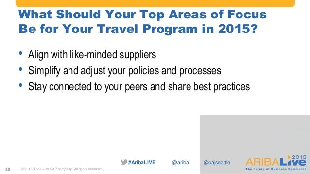 #AribaLIVE @ariba What Should Your Top Areas of Focus Be for Your Travel Program in 2015? • Align with like-minded supplie...