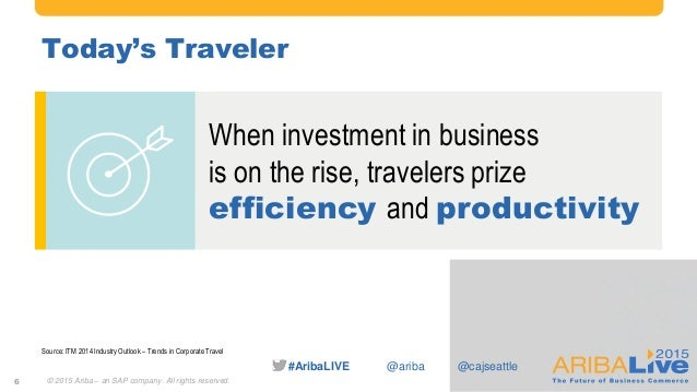 #AribaLIVE @ariba When investment in business is on the rise, travelers prize efficiency and productivity Today's Traveler...