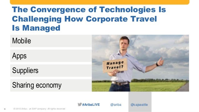 #AribaLIVE @ariba The Convergence of Technologies Is Challenging How Corporate Travel Is Managed © 2015 Ariba – an SAP com...