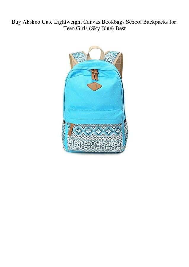 cce19f0991 Buy Abshoo Cute Lightweight Canvas Bookbags School Backpacks for Teen Girls  (Sky Blue) Best ...
