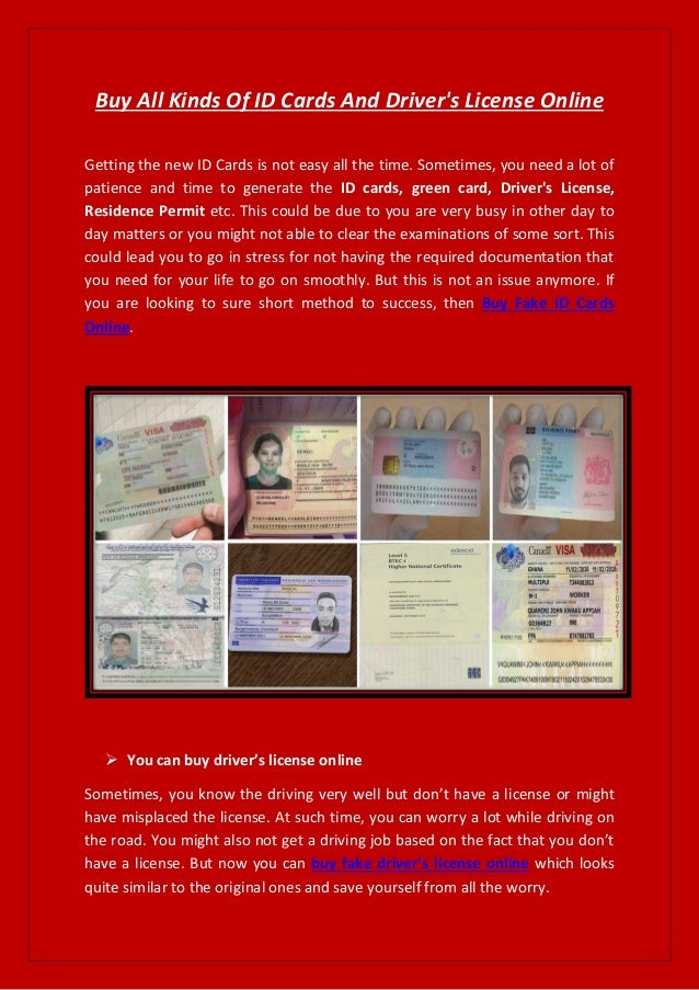 Buy all kinds of id cards and driver's license online