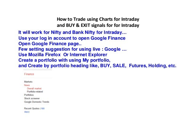 Buy and sale singals for intraday and short term guide