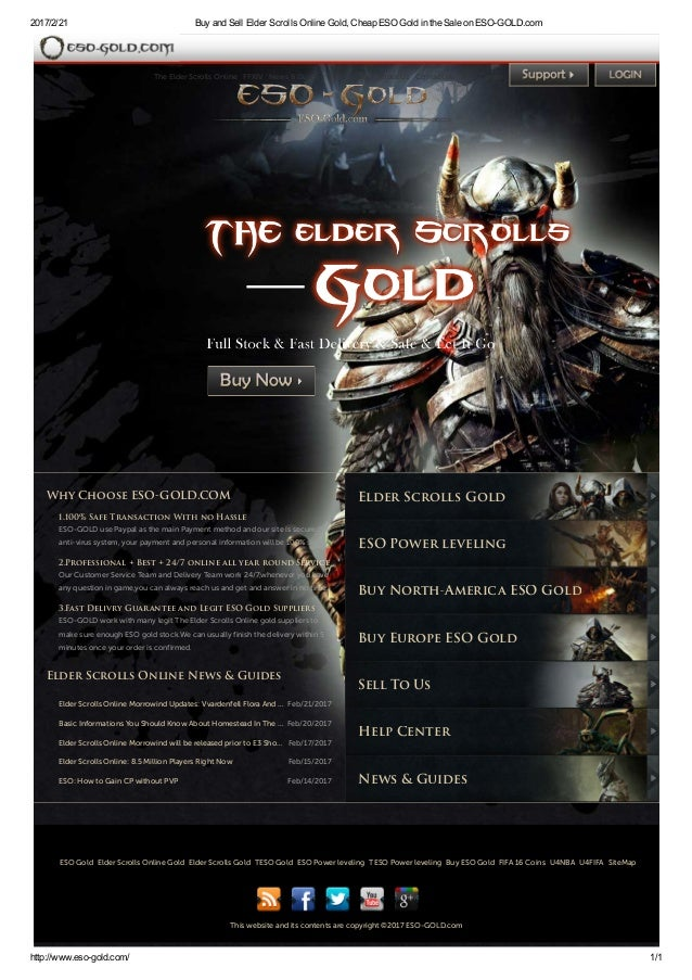 Buy and sell elder scrolls online gold, cheap eso gold in