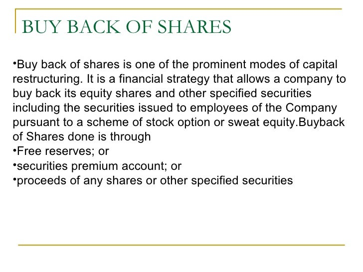 Repurchase of stock options