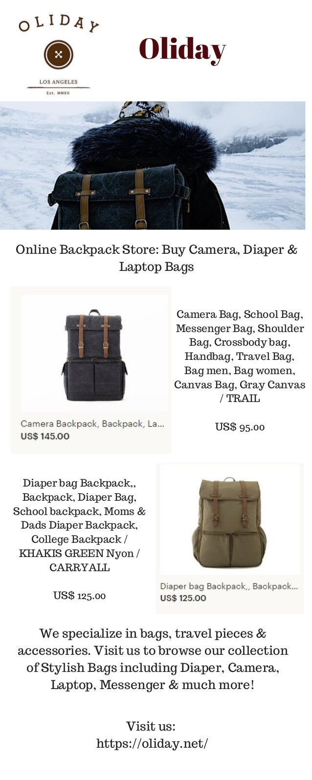 Oliday Online Backpack Store  Buy Camera e3b81e821ff0e