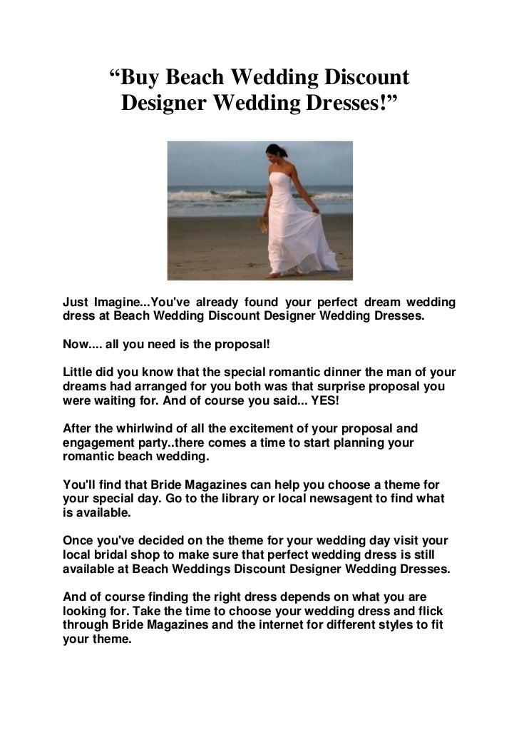 Buy Beach Wedding Discount Designer Wedding Dresses