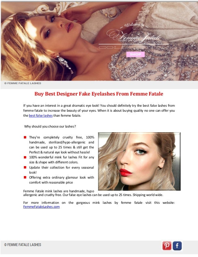 Buy Best Designer Fake Eyelashes From Femme Fatale If you have an interest in a great dramatic eye look! You should defini...