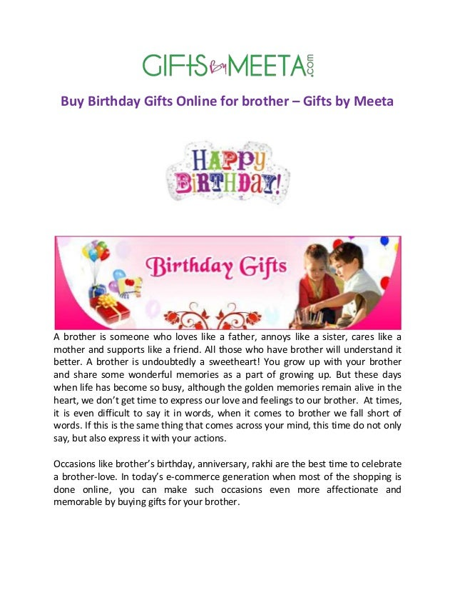 Buy Birthday Gifts Online For Brother By Meeta