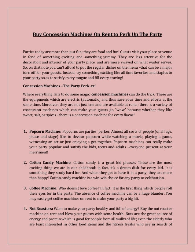 Buy Concession Machines On Rent to Perk Up The Party
