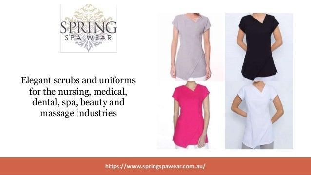Buy Designer Therapist Uniforms from Spring Spa Wear