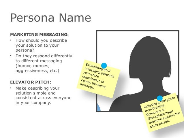 Persona NameMARKETING MESSAGING:• How should you describeyour solution to yourpersona?• Do they respond differentlyto diff...