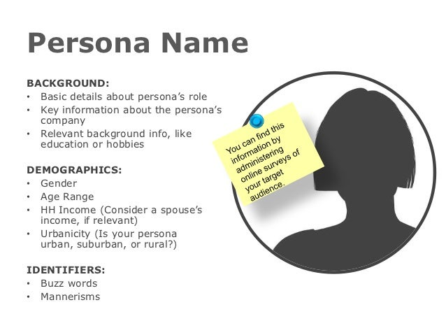 Persona NameBACKGROUND:• Basic details about persona's role• Key information about the persona's  company• Relevant backgr...