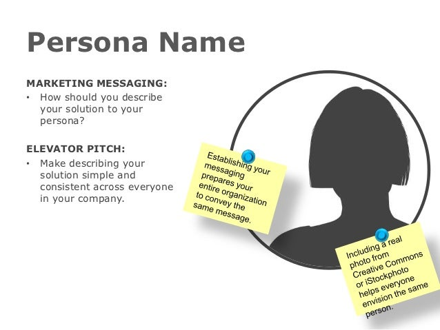 Persona NameMARKETING MESSAGING:• How should you describe  your solution to your  persona?ELEVATOR PITCH:• Make describing...