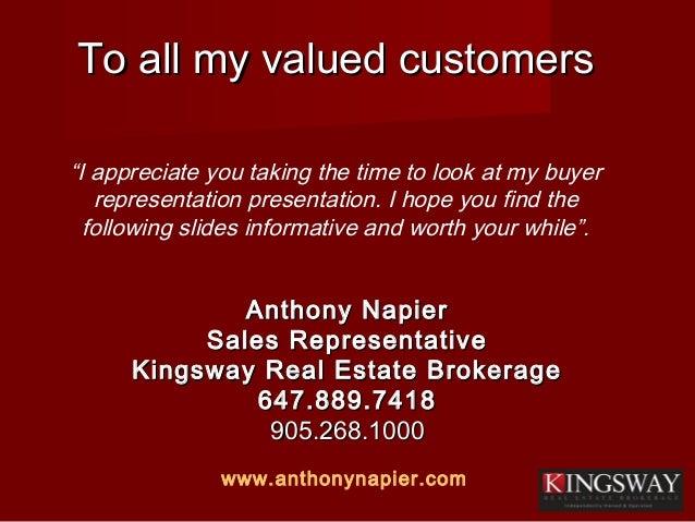 To all my valued customersTo all my valued customers Anthony NapierAnthony Napier Sales RepresentativeSales Representative...