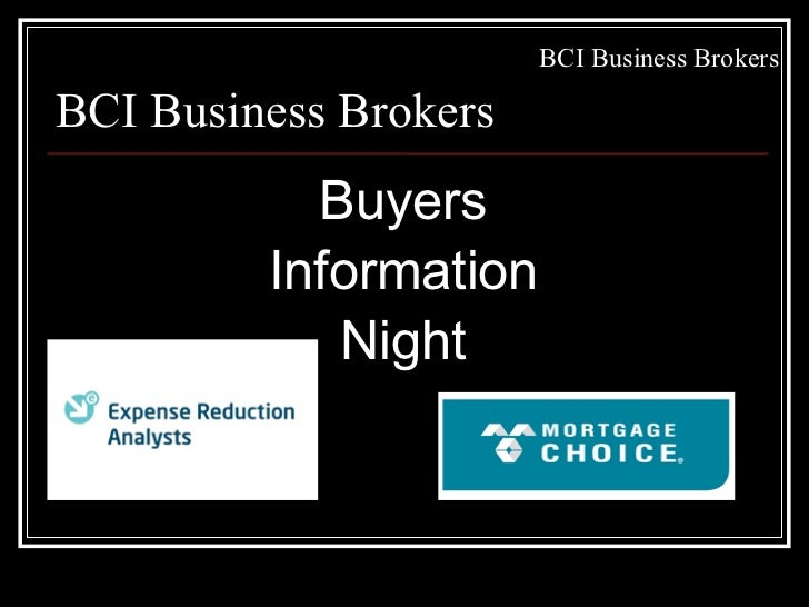 BCI Business BrokersBCI Business Brokers           Buyers         Information            Night