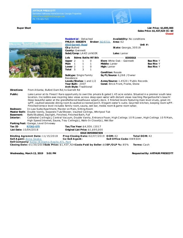 Buyer Short List Price: $1,695,000 Sales Price: $1,437,424 CC: $0 Closed Residential - Detached Availability: No condition...