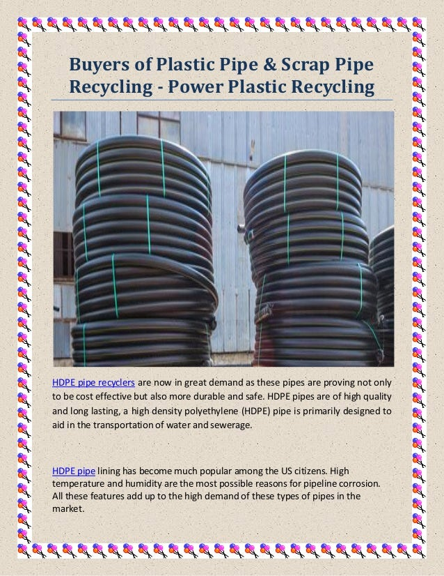 Buyers of Plastic Pipe & Scrap Pipe Recycling - Power