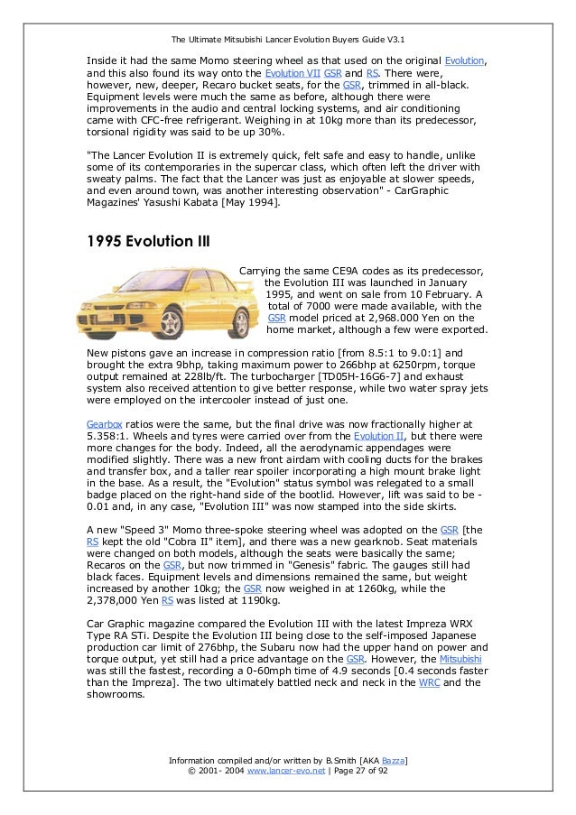 the ultimate mitsubishi lancer evolution buyer guide rh slideshare net Mitsubishi Lancer 1997 2015 Mitsubishi Lancer