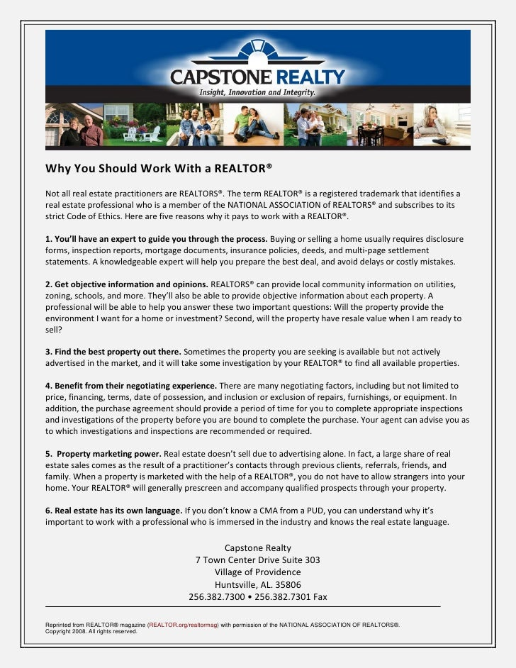 Why You Should Work With a REALTOR® Not all real estate practitioners are REALTORS®. The term REALTOR® is a registered tra...