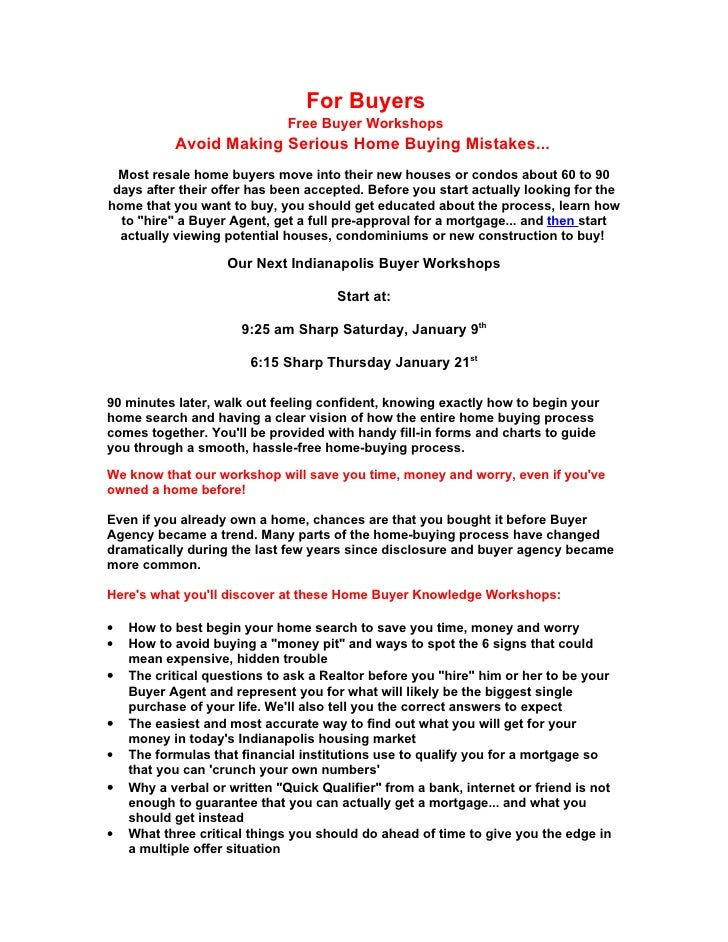 For Buyers                               Free Buyer Workshops            Avoid Making Serious Home Buying Mistakes...   Mo...
