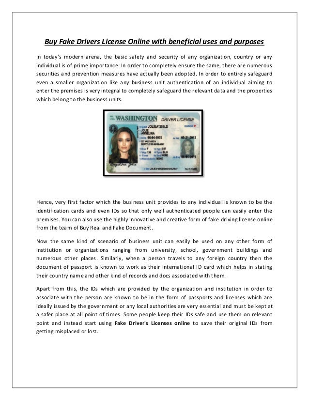 Buy Fake Drivers License Online with beneficial uses and purpose