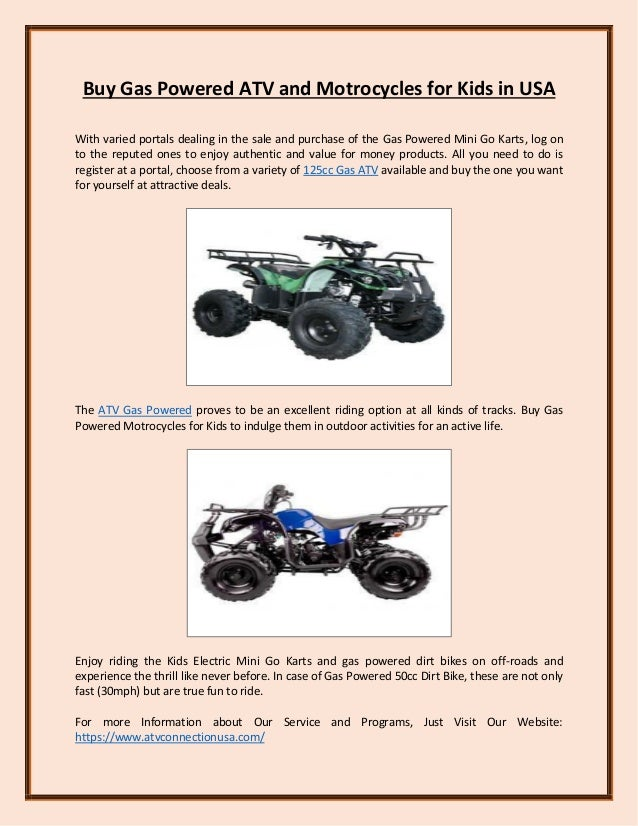 Buy Gas Powered Atv And Motrocycles For Kids In Usa