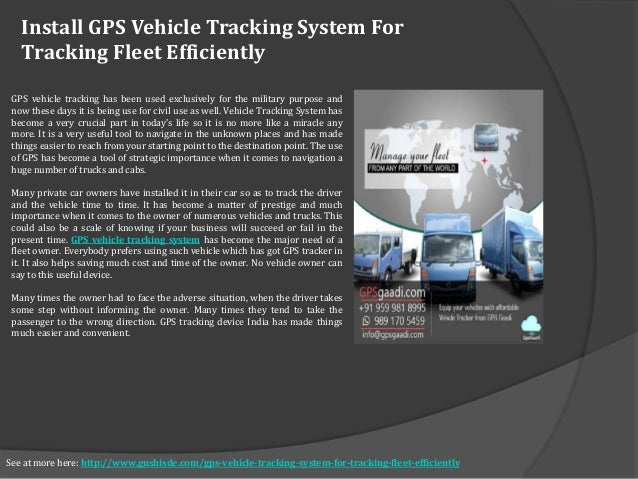 Install Gps Vehicle Tracking System For Tracking Fleet Efficiently See At More Here