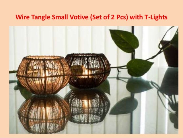 Wire Tangle Small Votive Set Of 2 Pcs With T Lights