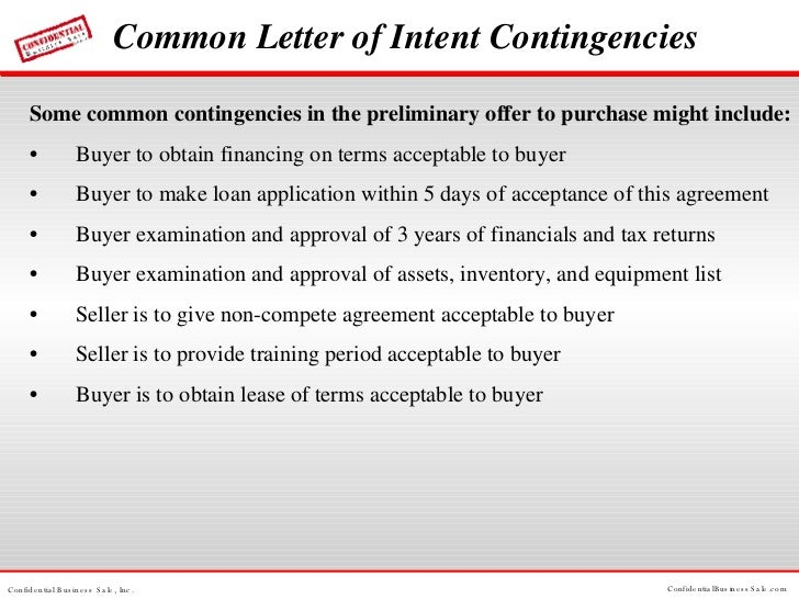 Confidential Business Sale Buying or Selling Business Process – Business Letter of Intent