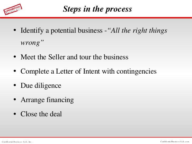 """Steps in the process <ul><li>Identify a potential business - """"All the right things wrong"""" </li></ul><ul><li>Meet the Selle..."""