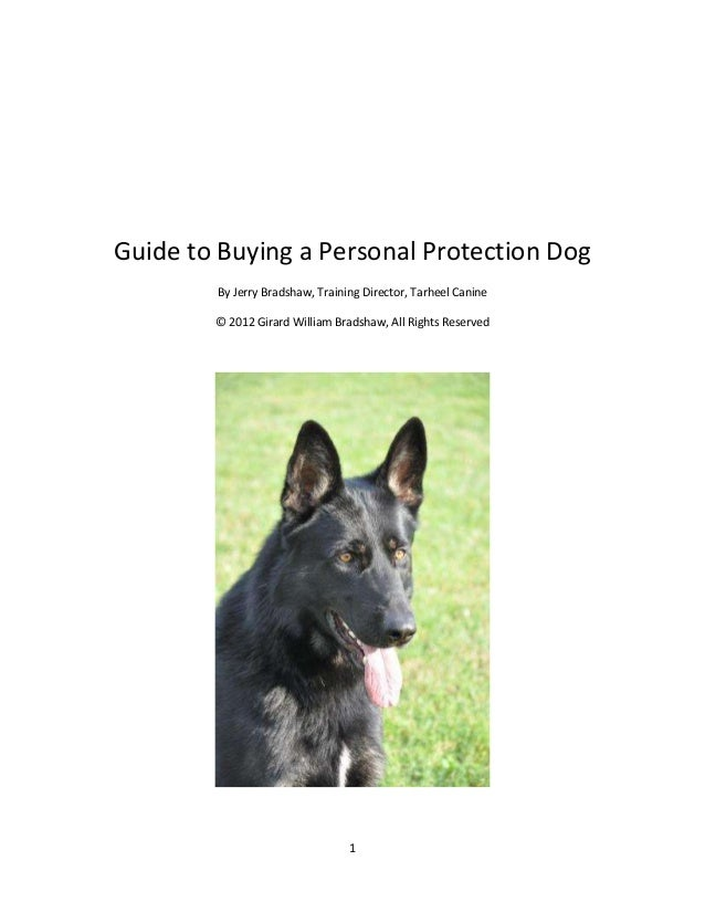 Guide to Buying a Personal Protection Dog By Jerry Bradshaw, Training Director, Tarheel Canine © 2012 Girard William Brads...