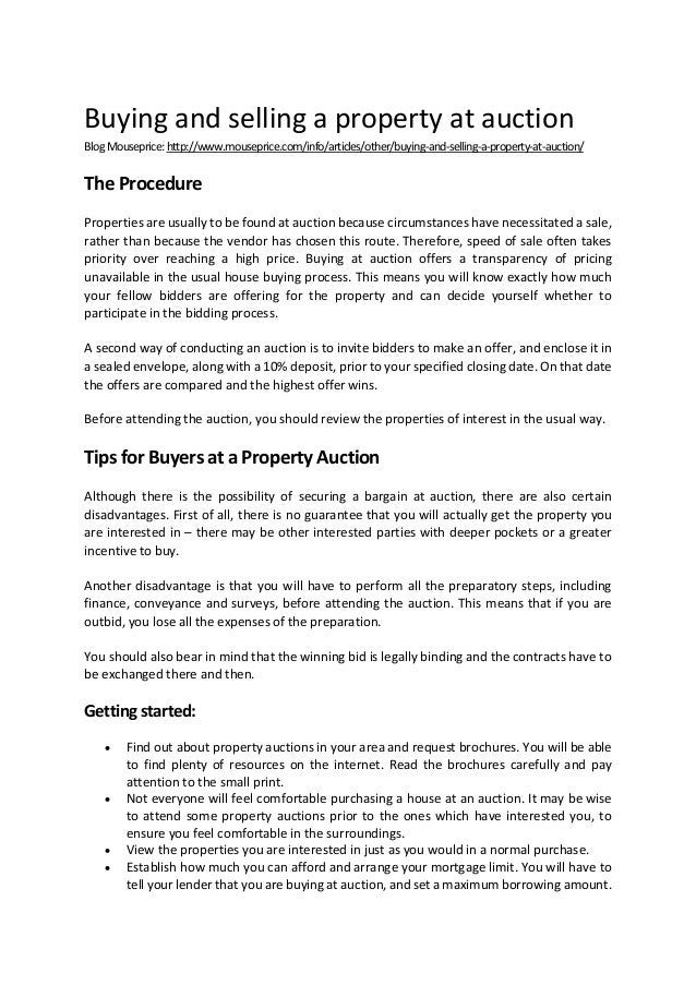 Buying and selling a property at auction BlogMouseprice:http://www.mouseprice.com/info/articles/other/buying-and-selling-a...