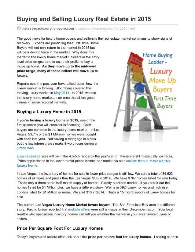 Buying And Selling Luxury Real Estate In 2015 Thelasvegasluxuryhomepro.com  /blog/luxury  ...
