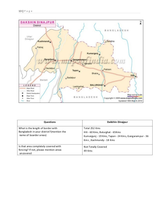 Buying And Selling Of Girls Acorss Borders A Study Report By Prantak - Balurghat map