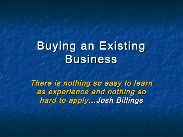 Business plan buying existing company