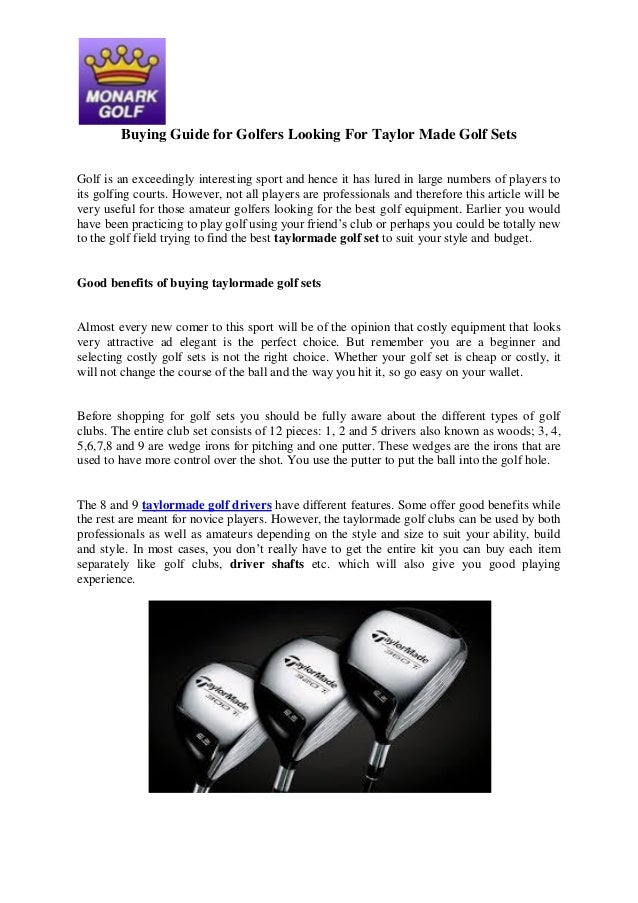 Buying Guide for Golfers Looking For Taylor Made Golf Sets Golf is an exceedingly interesting sport and hence it has lured...