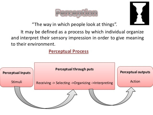 Perceptual Inputs:  The stimuli is nothing but environmental subject, events,  incidents. People can be consider as the pe...