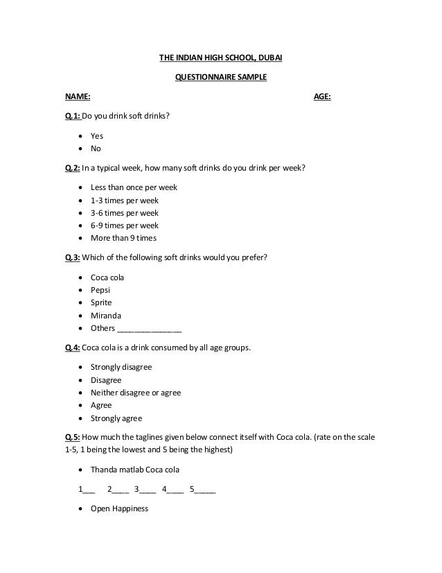 questionnaire on soft drinks