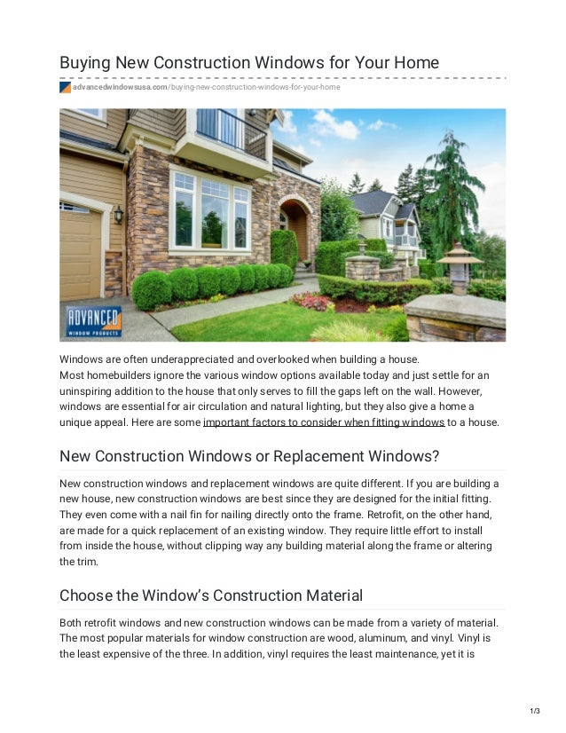 Buying New Construction Windows For Your Home