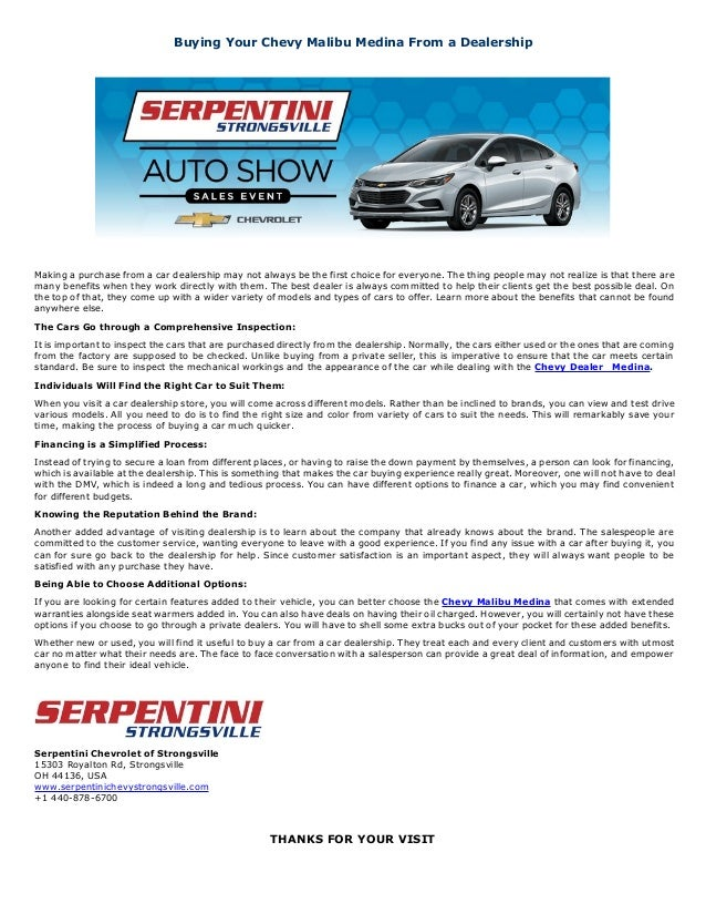 Buying Your Chevy Malibu Medina From A Dealership Serpentini Strongsville