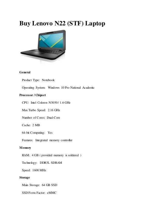Buy lenovo n22 (stf) laptop