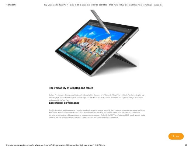 Buy microsoft surface pro 4 core i7 6th generation - 256 gb