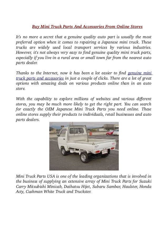 Buy Mini Truck Parts And Accessories From Online Stores